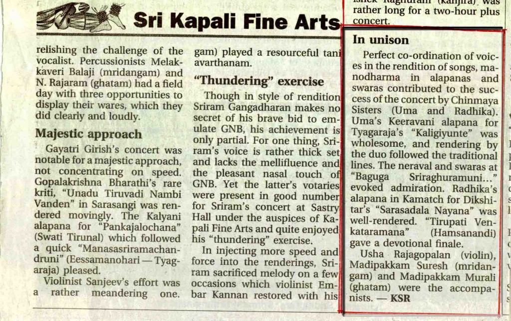 in unison, sri kapali fine arts review, chinmaya sisters