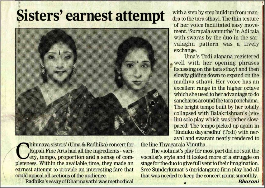 sisters ernerst attempt  review chinmaya sisters